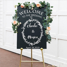 цена Custom Wedding Name And Date Welcome To The Wedding Sticker Personalized Decal DIY Decor Chalkboard Sign Decal Wedding Stickers