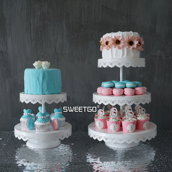 European Iron 2 & 3 Tier Hollow Out Fruits Cakes Desserts Plate Stand for Wedding Party Cakecups White Color #1550910