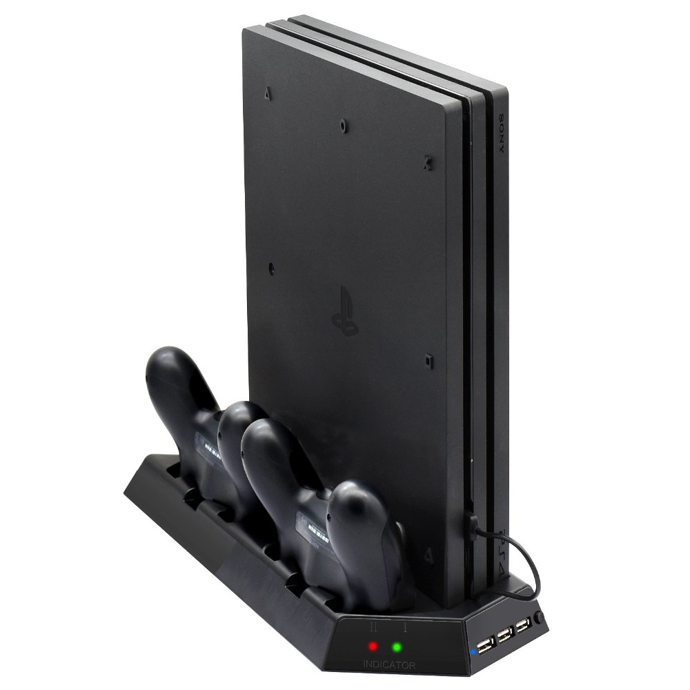 Vertical Stand for PS4 Pro with Cooling Fan and Controller Charger Station Charging Dock Stand for Playstation 4 Pro Dualshock 4
