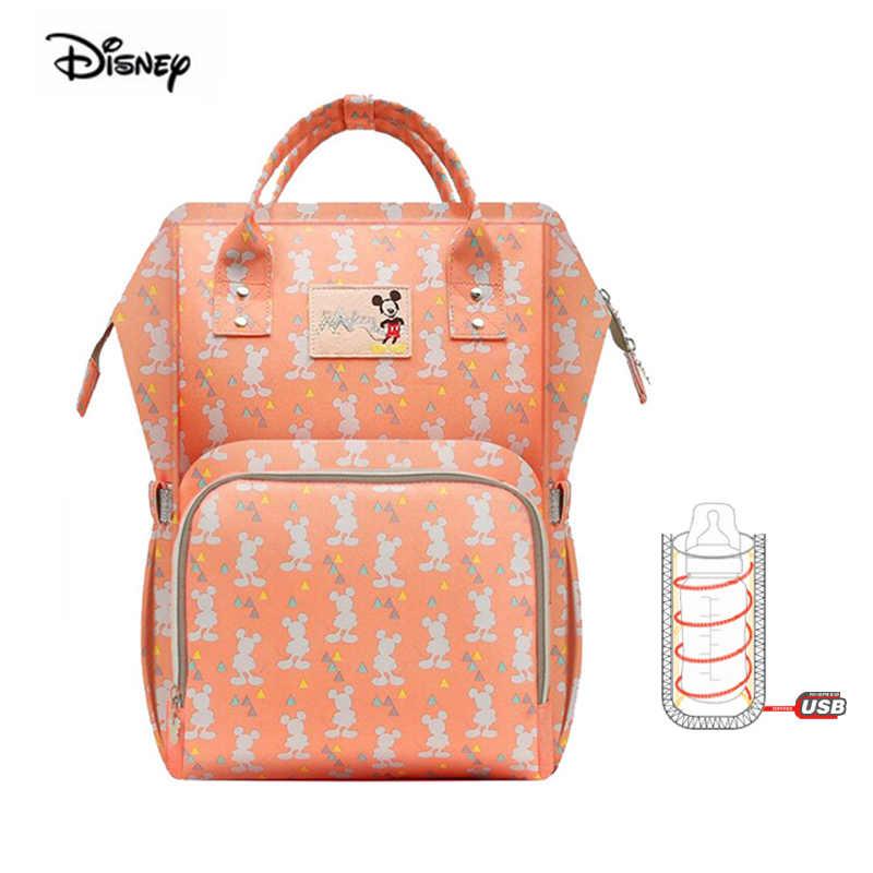 Disney maman sac USB chauffage Oxford poussette sac multifonction maternité sac à dos étanche momie voyage sac à couches bébé produit