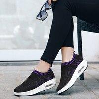 New Hot Mulheres Cunha Slip-On Flyknitlys Musculação Perder Peso Saúde Esporte Mulher Altura Crescente Sapatos Zapatos Mujer