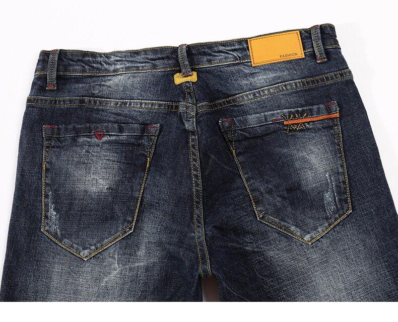 KSTUN Mens Jeans Brand Dark Blue Spring and Autumn Slim Straight Stretch Business Casaul Man Denim Pants Cowboys Plus Size 40 14