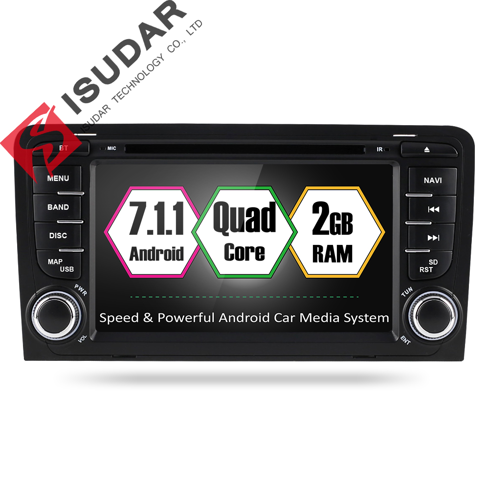 Isudar Car Multimedia Player Android 7.1.1 GPS 2 Din Car DVD Player For A3 2002-2013 Canbus 2GB RAM 16GB ROM wifi Radio FM DSP