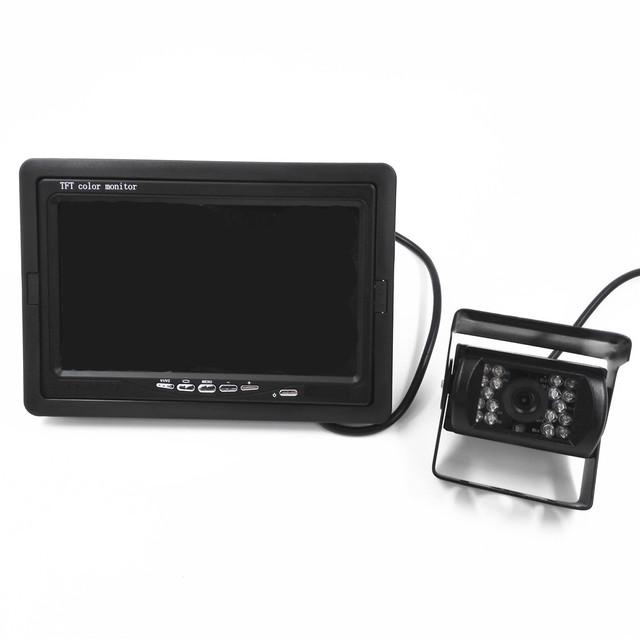 Chegada nova 18 À Prova D' Água IR Câmera Reversa + 7 polegada Do Monitor LCD Ver Traseira do carro Kit Câmera Do Carro Sensor de Estacionamento de ÔNIBUS e Caminhão câmera