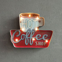 Hot Coffee LED Neon Metal Sign Club Cafe Wall Decoration Neon Light Metal Poster Home Hanging Metal Art
