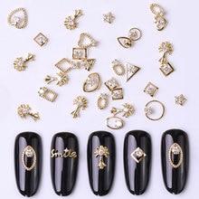 2 шт Золотые 3d Стразы металлический сплав ювелирные изделия дизайн ногтей драгоценные камни мода блестящий циркон кулоны для ногтей