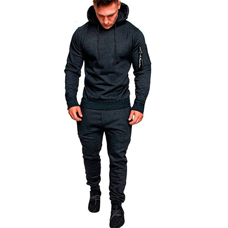Hirigin Men Tracksuit Autumn Winter Active Suit Set Outwear Hooded Hoodies And Long Pants #4