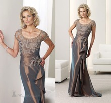 Champagne 2015 Brides Plus Size Mother of the Bride Dresses Pant Suits For Wedding With Short Sleeve