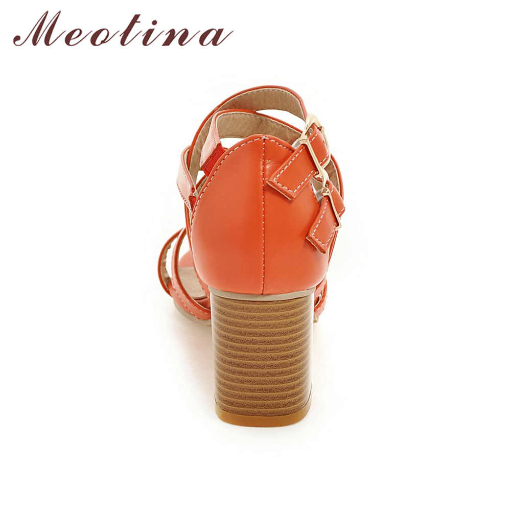 fd4305f889116 Meotina Women Shoes Sandals 2018 High Heels Cross Strap Gladiator Sandals  Rome Open Toe Chunky Heel Shoes Orange Beige Size 9 10