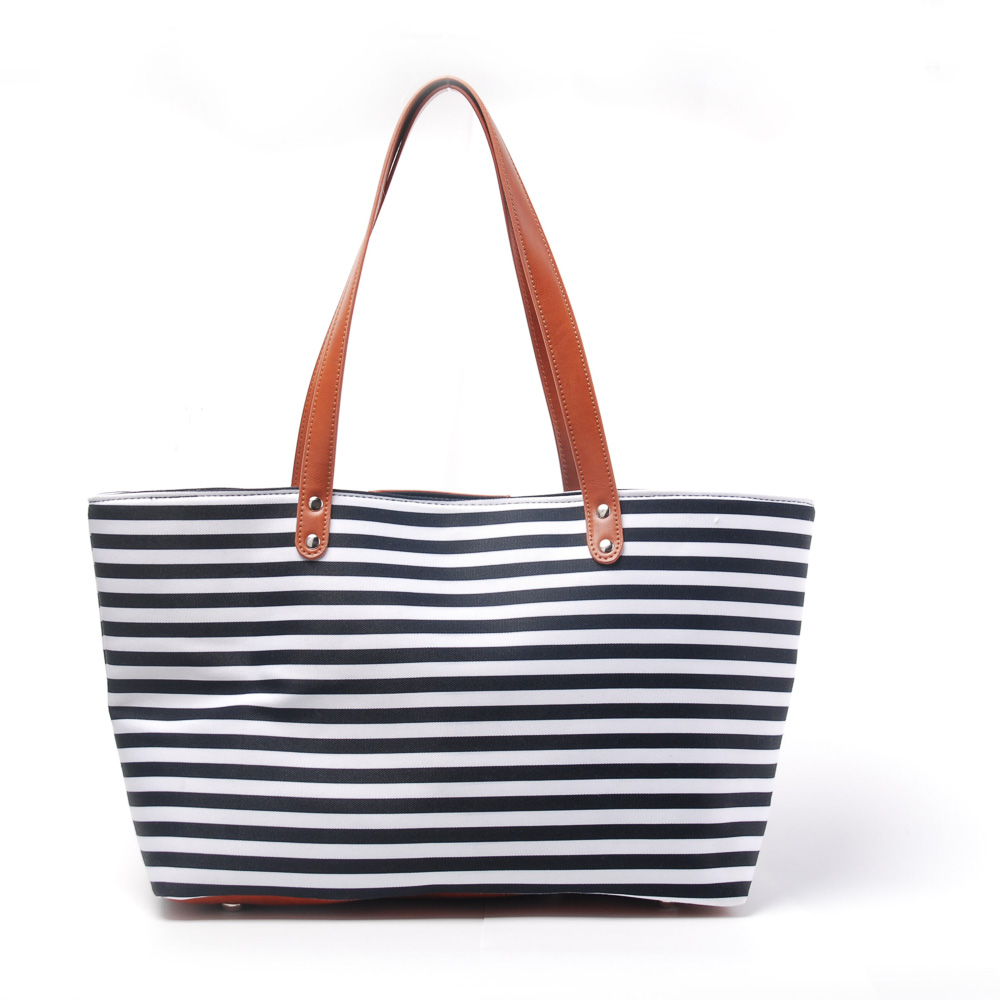 53cm19cm33cm Polyester Canvas Striped Tote Wholesale Blanks Mummy