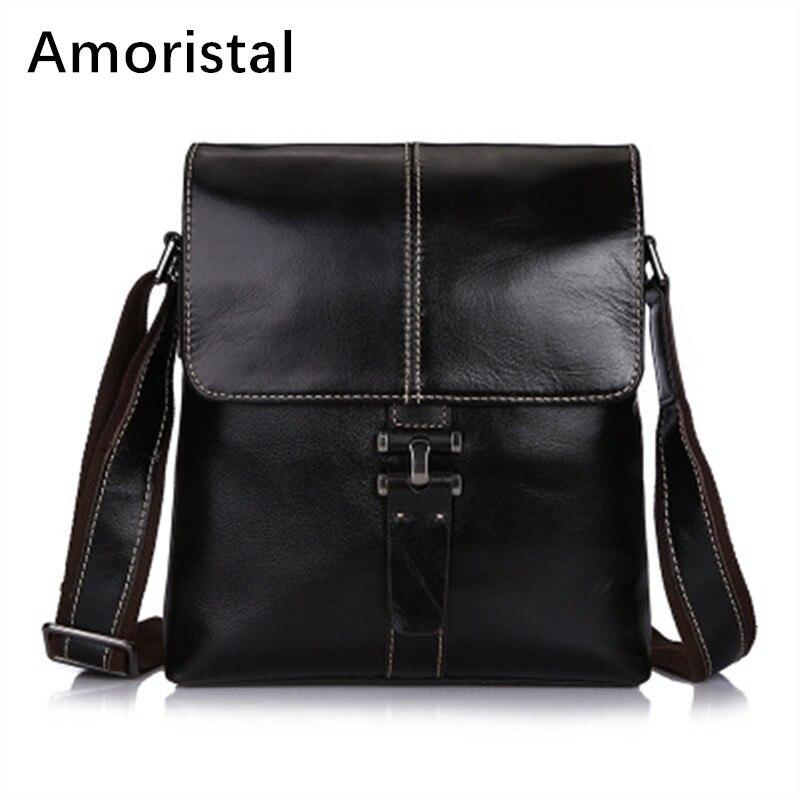 Men's Leather Bag Genuine Leather Men Bag Male Shoulder Crossbody Bags Casual Handbags Small Men Messenger Bags IPAD Holder B052 цена 2017
