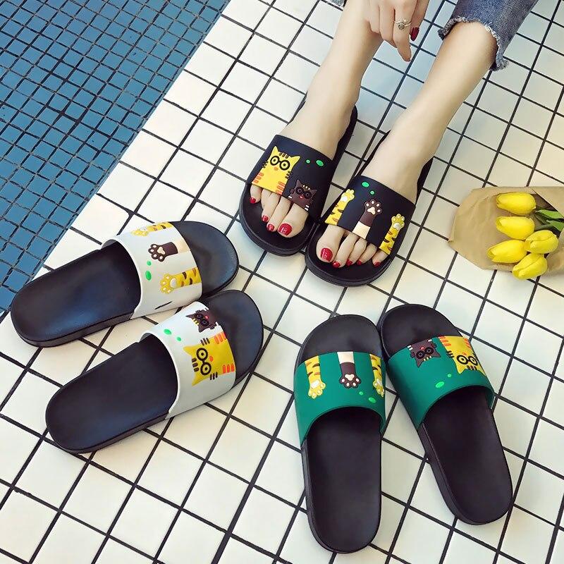 c75bc18d13ce9a Women Slippers Summer Women Slides Cute Cat Cartoon Platform Sandals Slip  On Flip Flops Beach Slippers