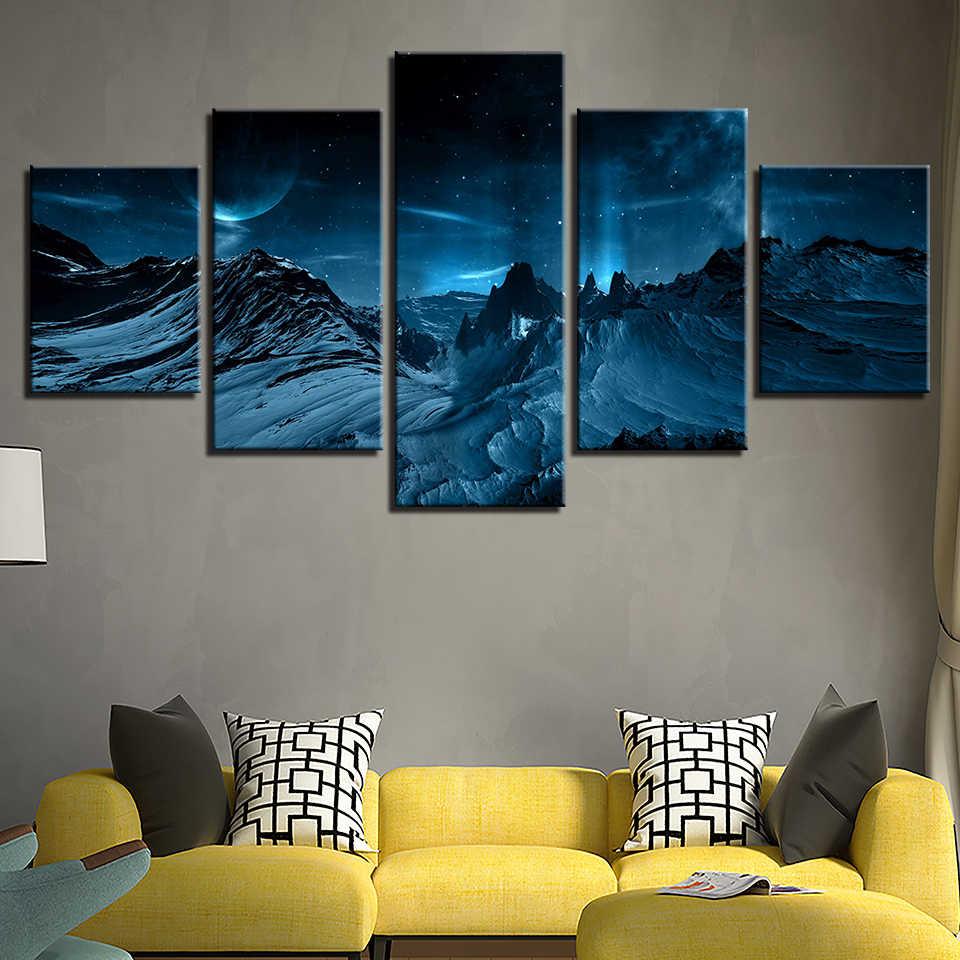 Картина на холсте настенное искусство домашний декор рамки 5 шт. синий Аврора