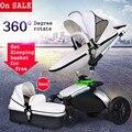2016 top venta de moda aiqi cochecito de bebé luz giratoria de 360 grados cuero de Dos vías Amortiguadores 2 En 1 Plegable Enviar 8 Regalo