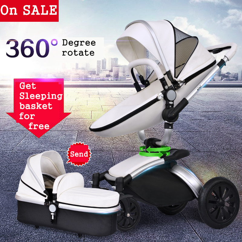 Baby strollers 3 in 1 baby stroller Aiqi Stroller 360 Degree Baby Rotating Light Leather Two-way 2 In 1 Folding black frame lightweight strollers aiqi ultra light white frame good quality baby stroller baby umbrellacar boarding stroller accessories