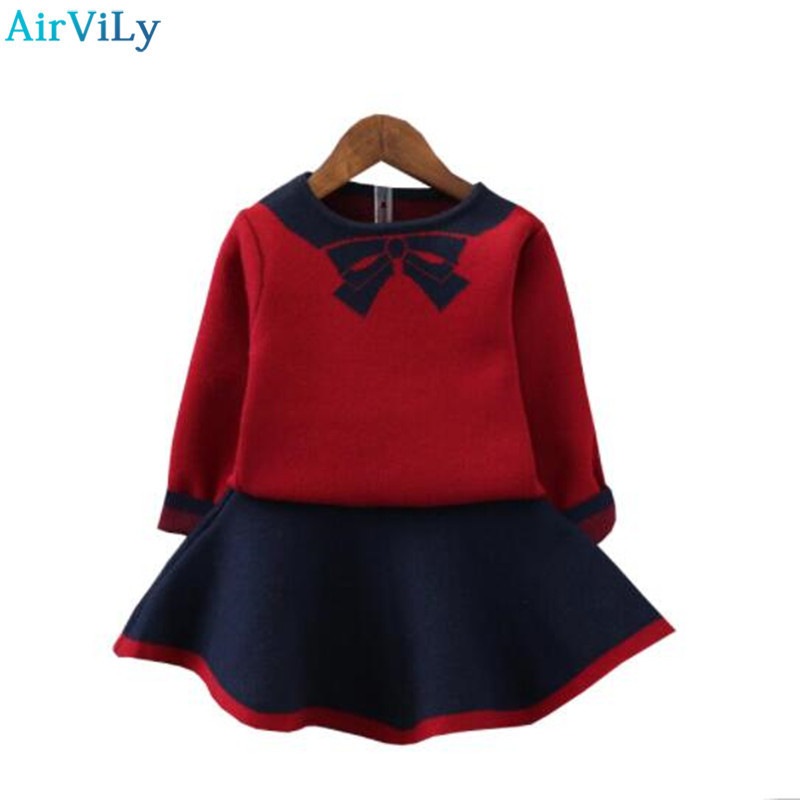 Girls Halloween Outfit Bow Knitted Sweater Skirt Toddler Girl Fall Clothes Long Sleeve Children Clothing Set Christmas Clothes t100 children sweater winter wool girl child cartoon thick knitted girls cardigan warm sweater long sleeve toddler cardigan