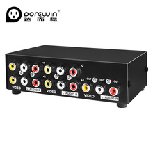 Dorewin 4 Port AV Switch Switcher 4 in 1 out Audio Video Converter Box 3RCA convert to HD TV AV Adapter