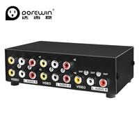 Dorewin av التبديل 4 في 1 من rca الصوت الجلاد 4 الموانئ 3rca الصوت والفيديو تحويل صندوق محدد ل hdtv lcd العارض dvd