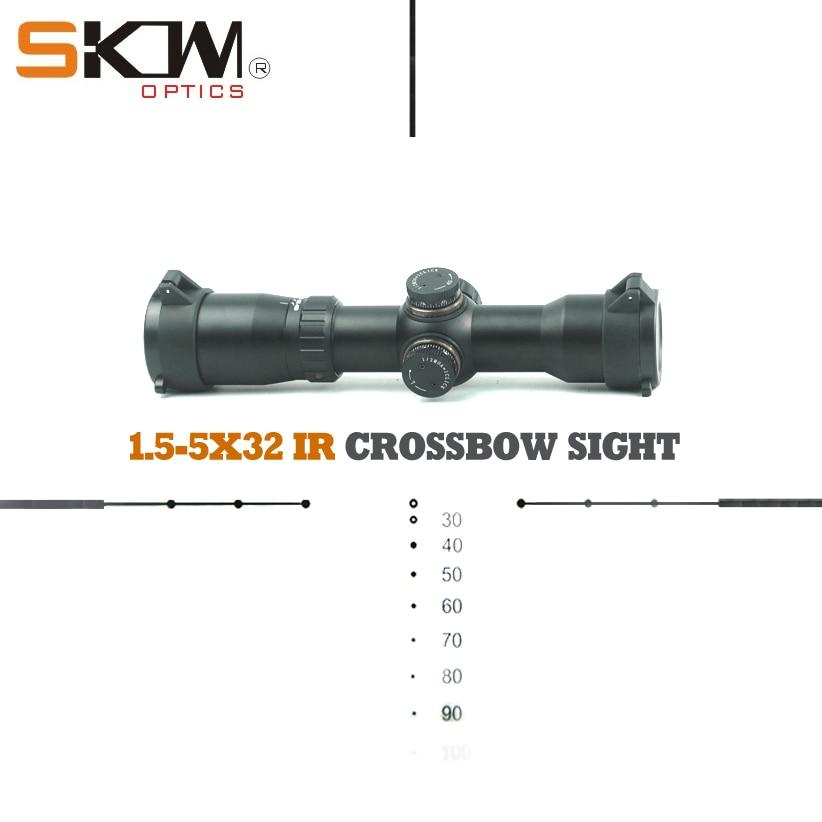 Livraison gratuite skwoptique 1.5-5x32 tactique chasse arbalète vue compacte lunette de visée 223 308 30-06 ar15 AK