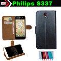 Кожи сальто Смартфон скольжению Чехол для Philips S337 Чехол Карты Слоты Кошелек 7 Цветов