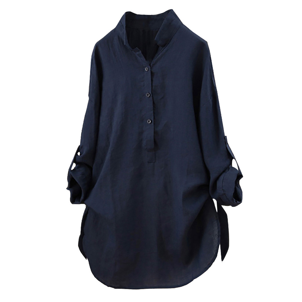 Plus Size 5XL   Blouse   Women Tops 2019 Solid white   blouse   Button ladies tops Vintage Long Sleeve Long   Shirt   Woman Clothes