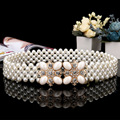 2016 Handmade pearl beaded crystal wedding Elastic sash bridal can stretched Rhinestone evening Prom party sash Bride belt PJ201