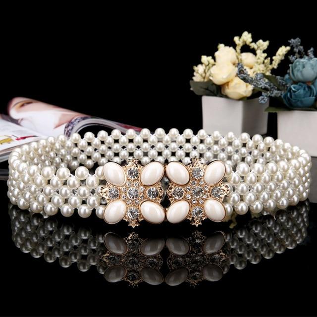 2016 Handmade pearl beaded crystal wedding Elastic sash bridal can stretched Rhinestone evening Prom party sash Bride belt PJ201
