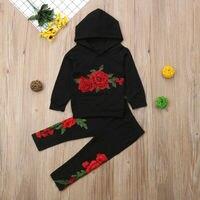 Толстовки с цветочной вышивкой для маленьких девочек топы, длинные штаны, комплекты одежды, спортивный костюм для детей из 2 предметов