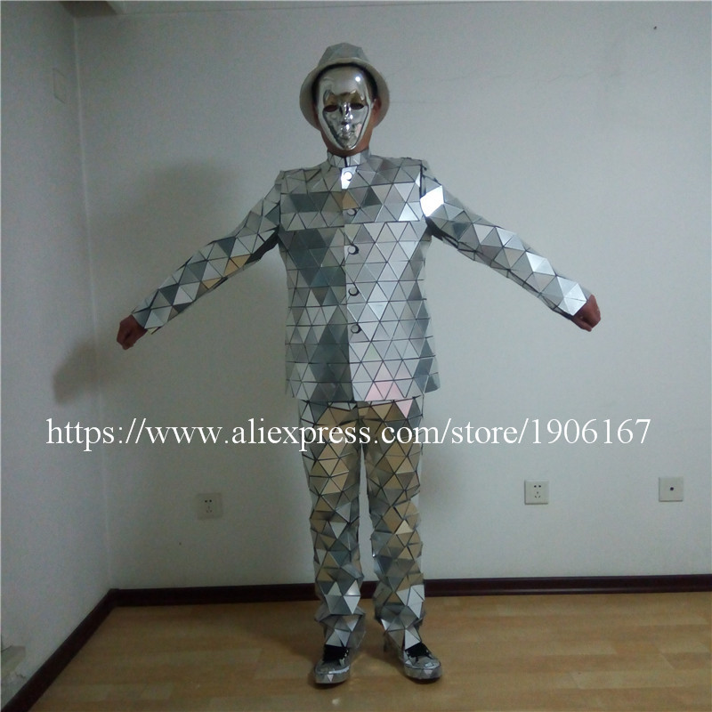 Catwalk Shows Men Silver Color Stage Ballrooom Costume Mirror Man Clothing Party Christmas Performance DJ Singer Clothes Suit01