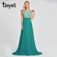 Tanpell Bateau Neck Evening Dress Green Cap Sleeves A Line Floor Length Gown Women Appliques Prom