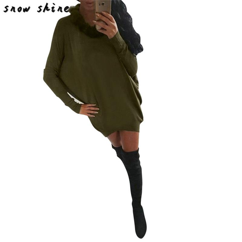 snowshine YLI Womens Long Sleeve Fur Collar Batwing Sleeve Ladies Mini Dress FREE SHIPPING