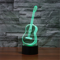 Six Strings Guitar Bedroom LED Desktop Table Lamp Christmas USB Valentines Day Birthday Gift 3D Touch