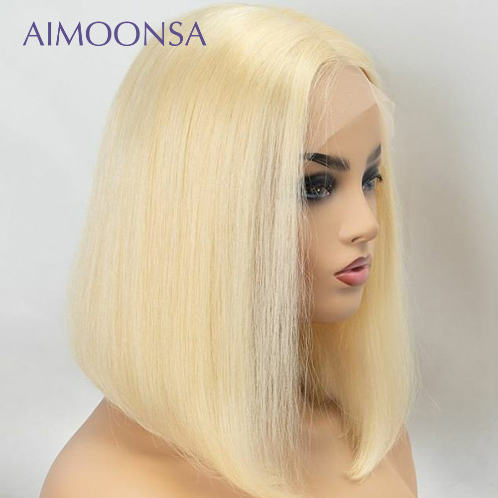 613 bob wig with bang blonde lace front wig 613 blonde short