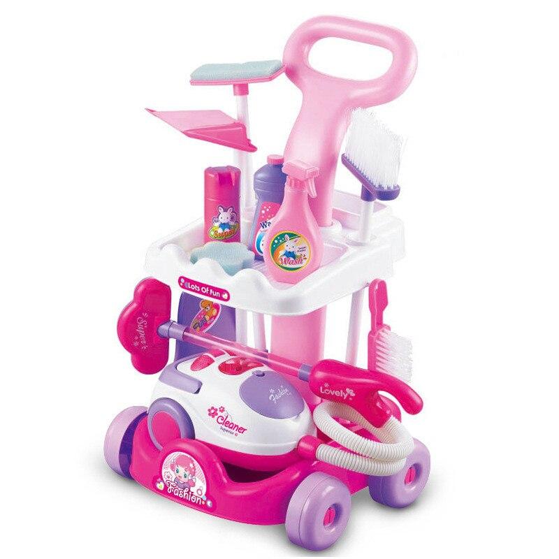 Bébé semblant jouer pousser propre voiture meubles jouets ensemble Simulation appareil bébé jeu de rôle aspirateur cuisine nettoyage voiture poupée