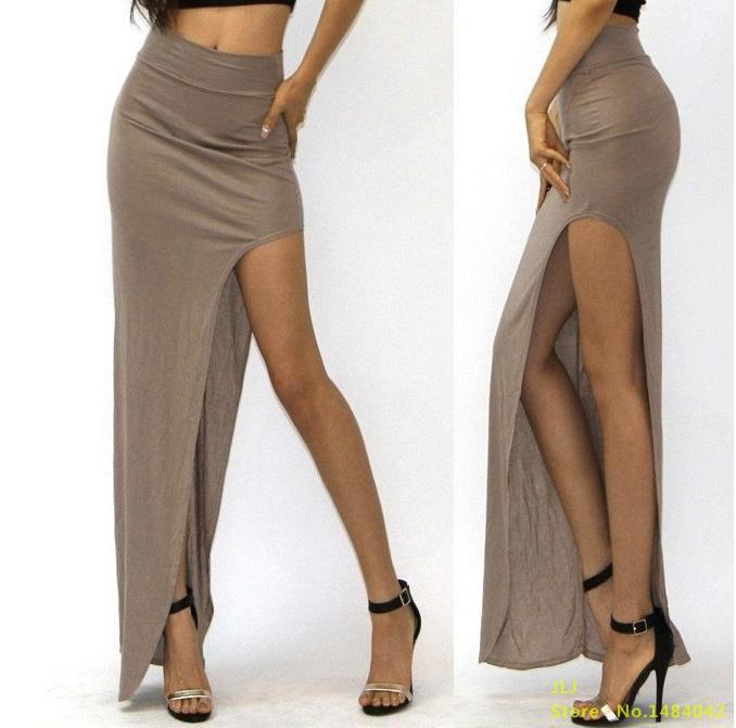 VISNXGI Новая летняя Высокая талия модная Очаровательная сексуальная женская юбка открытая боковая раздельная юбка размера плюс 7 цветов на выбор - Цвет: D001 Khaki