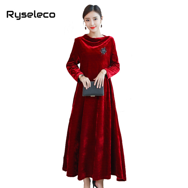 Female Loose Plus size Wine Red Velvet Long Sleeve Maxi Dresses Mother Women s  Elegant Beading Flare 8ffe72edfd84