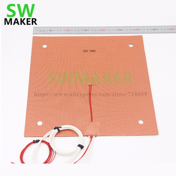 USA Material! CR10 Silicone Heater Pad 310x310mm for BLV MGN Cube, Creality CR-10 3D Printer Bed w/ Screw Holes ,Sensor