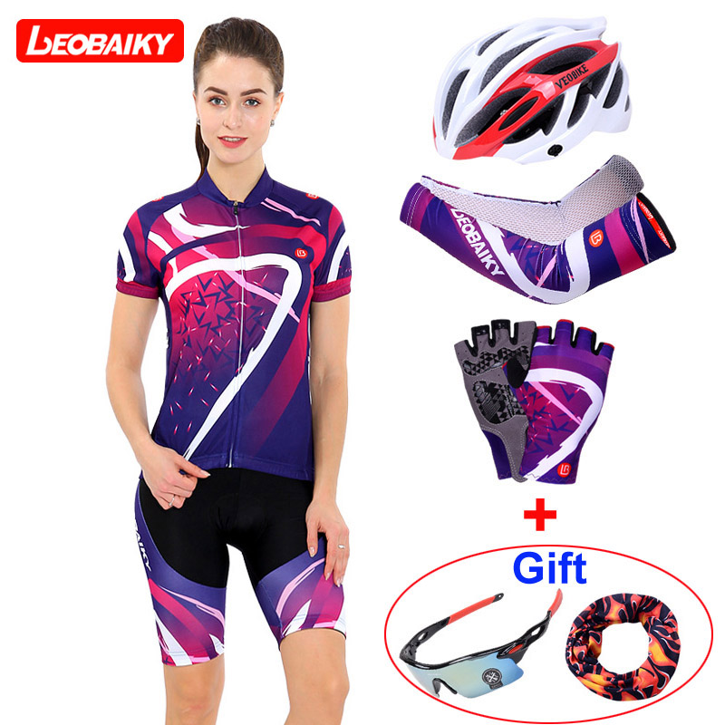 LEOBAIKY Summer Women MTB Bike Cycling Clothing Breathable Mountian Bicycle Clothes Ropa Ciclismo Quick-Dry Cycling Jersey Sets