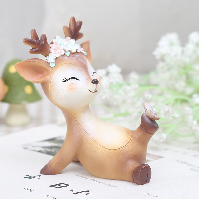 Mini Sika DeerFigurines Resin Craft Miniatures Fairy Garden Decor Bonsai Terrarium Figurines Cake Topper Decor Ornament 3