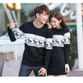 2016 Women Solid O Neck Winter Wool Sweaters Deer Pullovers Pull Femme Hiver Knitted Lover Couple Sweater Christmas Dress s054
