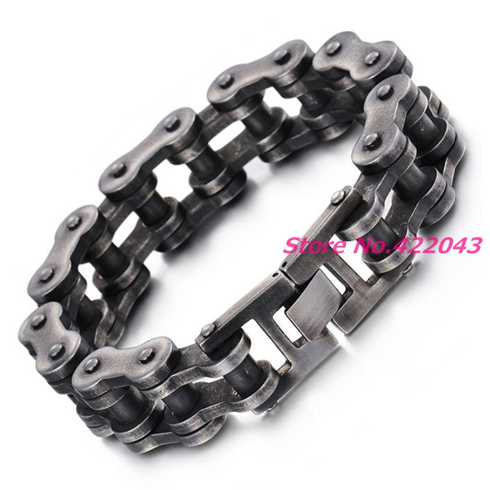 New 18mm Wide Heavy 316L Stainless Steel Biker Motorcycle Bracelet Mens Boys Accessories Wholesale Xmas Gift