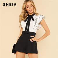 SHEIN Tie Neck Bow Ruffle Trim Two Tone Jumpsuits 2018 New Women Stand Collar High Waist