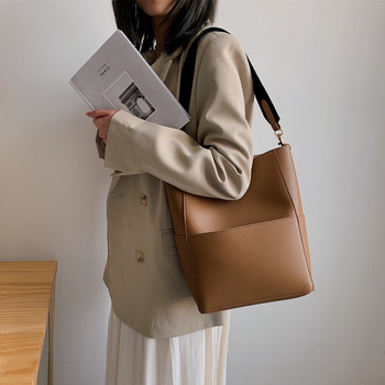 Burminsa Wide Belt Bucket Bags Women Large Shopper Tote Bags Designer Handbags High Quality Ladies Casual Shoulder Messenger Bag