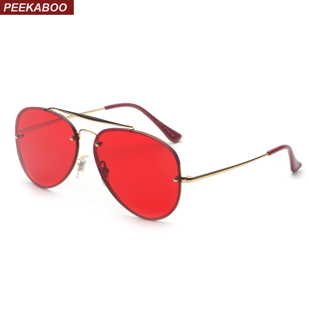 Peekaboo red sunglasses men 2018 summer high quality metal frame flat top glasses sun ma ...
