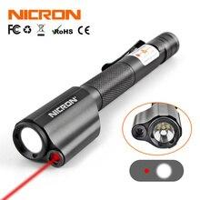 NICRON ミニペンスタイル用の赤色レーザーで懐中電灯ガイド使用防水 IP65 2xAAA バッテリー 120LM ミニトーチランプ照明 B24