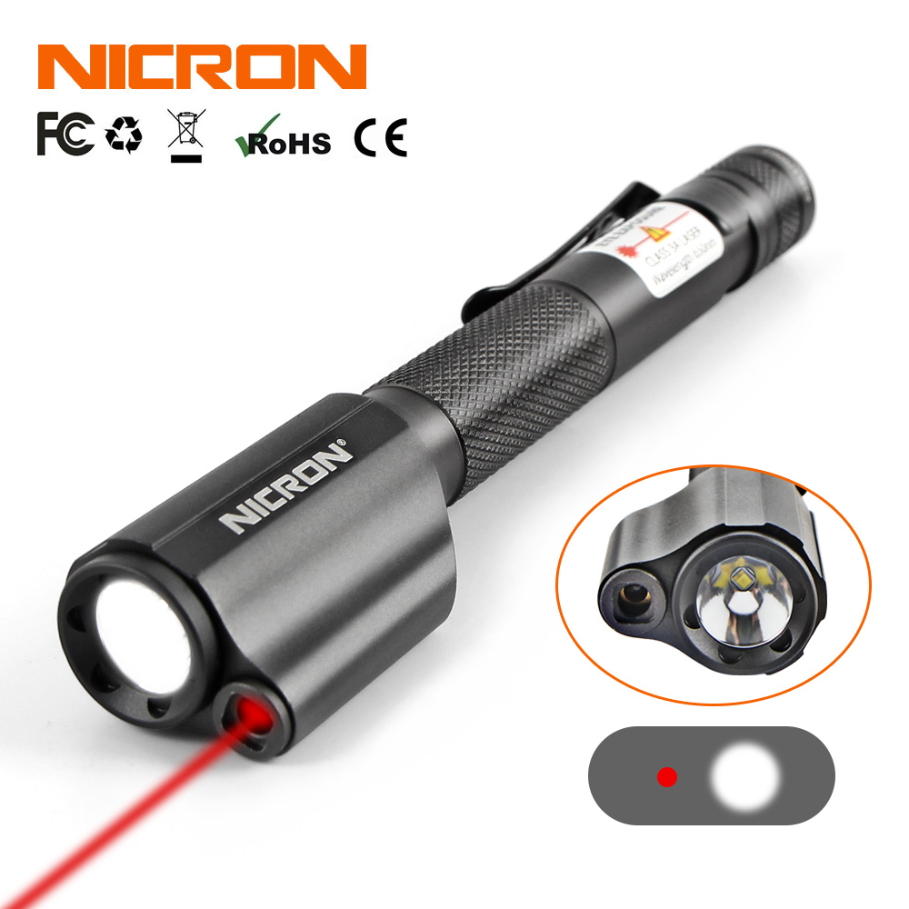 NICRON Mini Pen Style Flashlight With Red Laser For Guide Use Waterproof IP65 2xAAA Battery 120LM Mini Torch Lamp Lighting B24