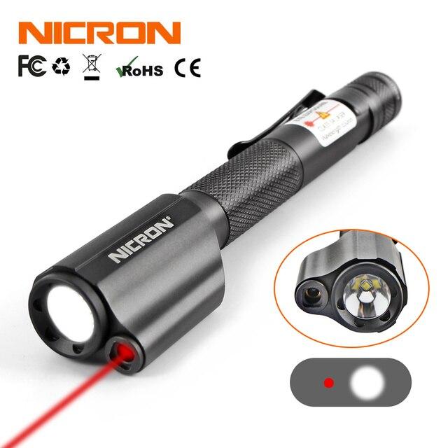 Мини фонарик NICRON в форме ручки с красным лазером для направляющей, водонепроницаемый, IP65, 2 батареи ААА, 120 лм, Фонарь для освещения B24