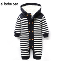 Europe 2016 New Winter Baby Rompers Striped Hooded Newborn Bodysuit Double Breasted Baby Boy Clothes Unisex