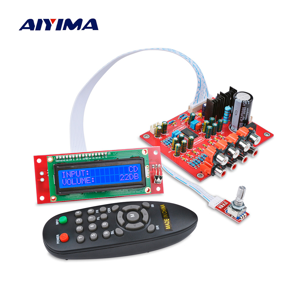 AIYIMA 4 Ways Audio Input Treble Bass Volume Tone Remote Control LC75342 Preamplifier Tone Board LCD Display DIY Home Amplifier