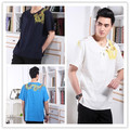 HOt Sale Tradition Chinese Men's Cotton Linen Dragon Pattern Kung Fu Short Sleeve Shirt Top M L XL XXL XXXL 2397